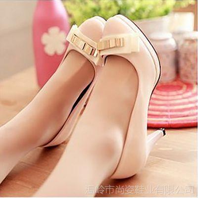 2014新款潮女鞋 韩国夜店蝴蝶结尖头粗跟高跟鞋子 女单鞋 批发鞋