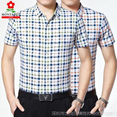 2015新款正品梦特娇短袖衬衫男 夏季中老年商务男装丝光棉格子衫
