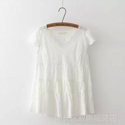 06534日系森林系棉麻精致刺绣短袖衬衫短款连衣裙娃娃衫
