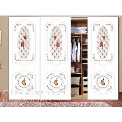 厂家批发玻璃衣柜门 UV打印仿砂雕工艺推拉门 卧室精品超白彩绘衣柜移门 量大从优