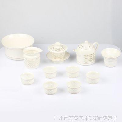 厂家批发直销 高档陶瓷水晶玲珑功夫茶具套装特价茶壶 幸福美满