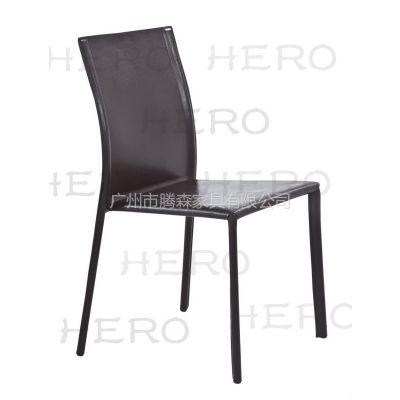 供应腾森家具金属全包再生皮餐椅3045