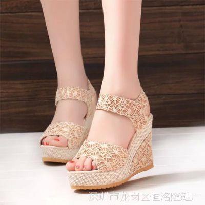 小清新蕾丝系带2015夏韩版学生鞋坡跟高跟女凉鞋潮厚底大码