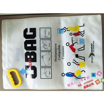 厂家按客订做食品级2L~10L骨条自立便携式折叠水袋 抗震救灾取水袋