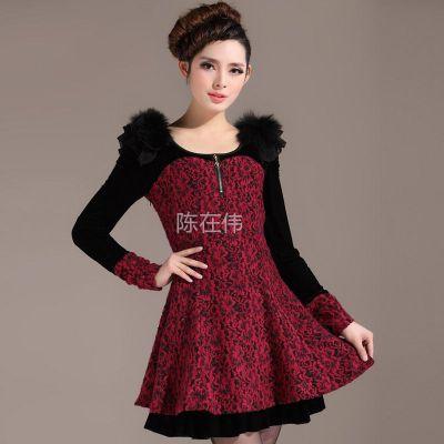 供应2013春秋新品 韩版新款秋冬款长袖蕾丝打底娃娃领修身连衣裙