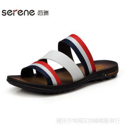 Serene/西瑞 春夏新款拖鞋男男鞋透气牛皮一字凉拖韩版百搭2136