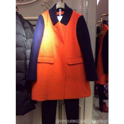 欧美风2014冬装橙色女大衣新款毛呢撞色拼接大衣外套1144341420