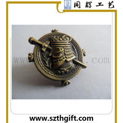定做金属仿古徽章 锌合金古青铜徽章来图稿来样品定做 深圳同辉工厂