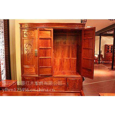 供应江西南昌帝豪红木家具店 月亭大衣柜 缅甸花梨木家具 古典中式家具