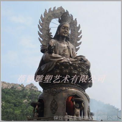 大型户外景观人物神像 中式人物雕塑 铜雕观音坐像 厂家专业生产图片