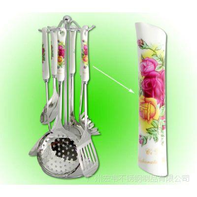 陶瓷柄烹饪勺铲 精美陶瓷柄烹饪勺铲 骨瓷烤花套装陶瓷柄烹饪勺铲