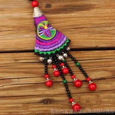 民族风毛衣链饰品纯手工原创绣花串珠铃项链