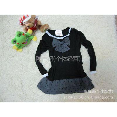 供应外贸原单 日本品牌天使 蝴蝶结童装 长袖T恤 针织衫 秋冬打底衫