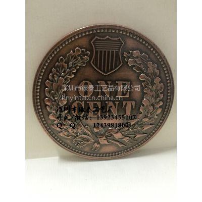 3D紫铜大铜章定制 铜 立体高浮雕大铜章 银泰厂家