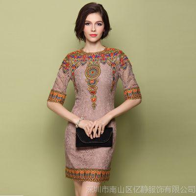 2015春夏大码女装欧美蕾丝连衣裙五分袖刺绣裙大牌外贸原单批发代