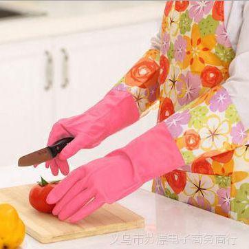 T韩式保暖乳胶加绒家务手套 洗碗手套 加长乳胶清洁手套 满包邮
