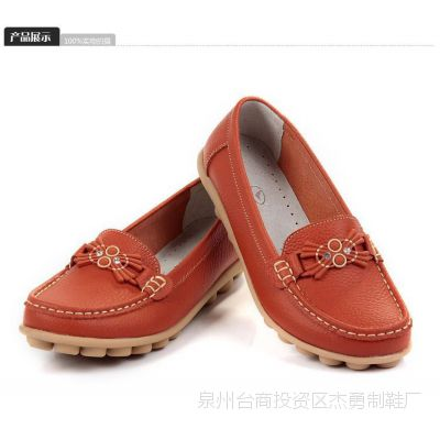 步日登秋冬新款牛筋底豆豆鞋 孕妇鞋 妈妈鞋真皮女鞋平跟女单鞋
