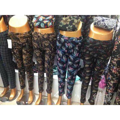 多种花型弹力冬装不倒绒女式打底裤 保暖裤 打底裤批发