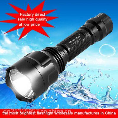 厂家直销 C8强光手电筒led户外手电筒 充电手电筒 日常手电筒批发
