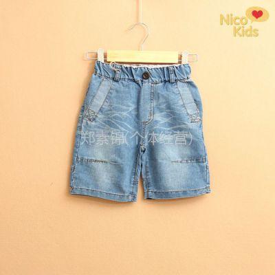 供应外贸童装 za*褶皱木扣条纹布贴布牛仔短裤 儿童裤子 Z04-151A04