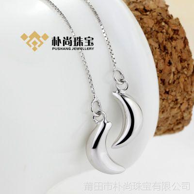 E004#S925银月亮耳线 纯银饰品 首饰 时尚韩版耳环 银饰批发