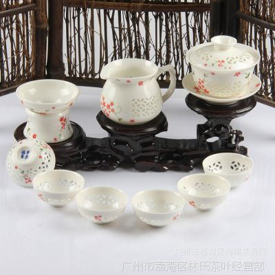 厂家批发直销 高档精品礼盒功夫茶具11头玲珑瓷青花红樱花套组