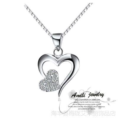 艾米丽 心心相印925银项链配饰女 韩版时尚心形银吊坠批发生产