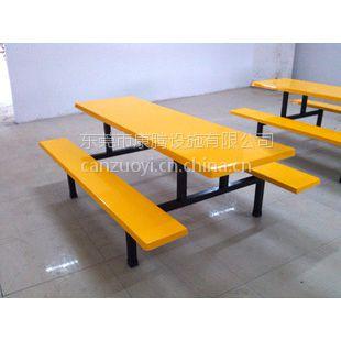 玻璃钢员工食堂八人餐桌 学生餐桌椅 工厂饭堂连体桌椅 厂家直销