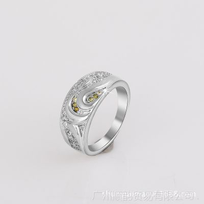 新合谊欧美新款18k高档白金戒指女款时尚畅销仿真首饰外贸批发