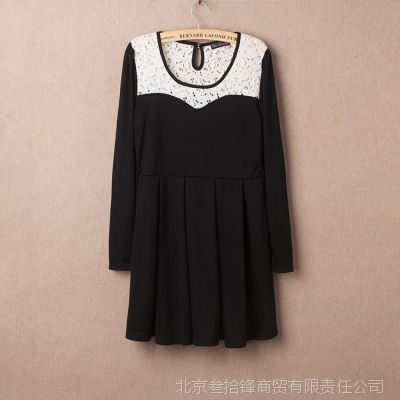 一件代发 外贸日单 秋冬款蕾丝拼接  罗马布  甜美连衣裙 425