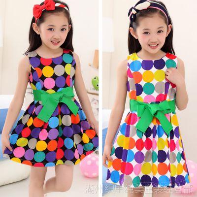 童装女童 2015夏季新款韩版中大女童圆点裙子 女孩无袖蝴蝶结腰带