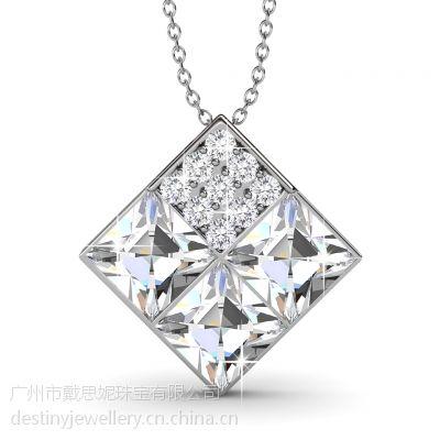 戴思妮 采用施华洛世奇元素 方块精美水晶项链吊坠 厂家直销