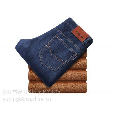 2015新款秋冬款 男装商务休闲中年直筒加绒牛仔裤 修身长裤