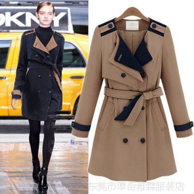 欧美2015春季新款长袖西装领双排扣长款系腰带外套女式风衣女9133