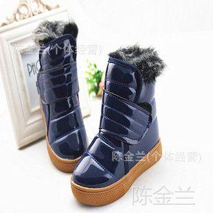 清仓处理亏本 珠光皮儿童雪地靴男童女童皮靴棉靴保暖鞋 高品质