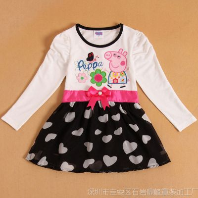 佩佩猪peppa pig【热销爆款】童装 蕾丝长袖韩版爆款连衣裙 女童