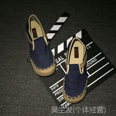 夏季 亚麻情侣休闲老北京男懒人鞋子泰国民族风帆布复古手工布鞋