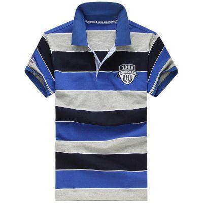 男装条纹短袖POLO衫定做 男式运动休闲T恤订做 厂服工作服定制