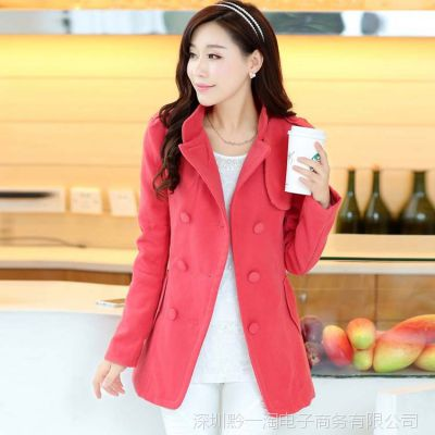 2014韩版时尚女装 冬季保暖修身中长款翻领双排扣女式风衣大衣