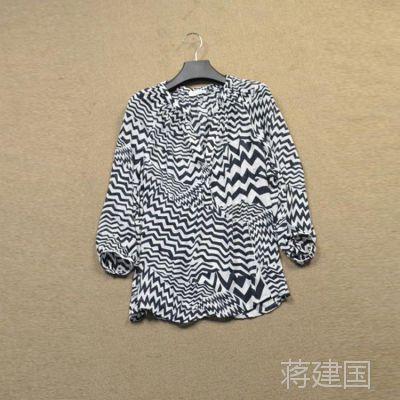 外贸美国大牌原单 100%雪纺女式衬衫 斑马纹印花女式插肩袖衬衫