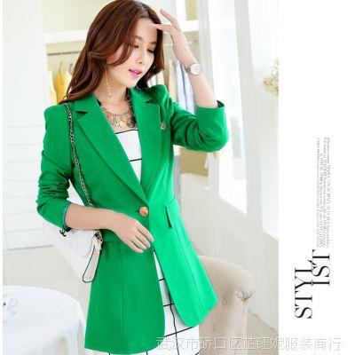 2015春装新款 一粒扣中长款小西装女式外套 韩版修身小西服女装