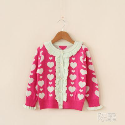 8856外贸童装 女童 双层爱心提花含羊绒针织衫 外套Y0302-12Z1