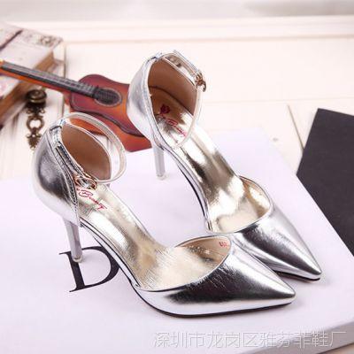 Q8683-52新款一字扣高跟女凉鞋包头T型超高细跟女凉鞋一件代发