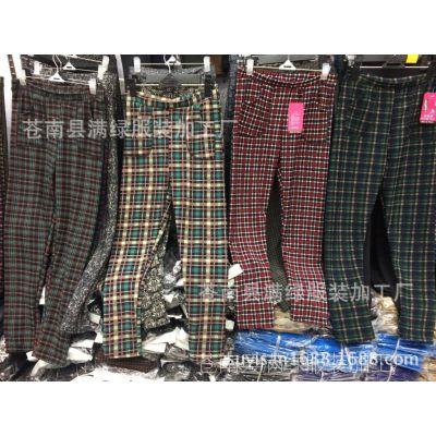 满绿服厂家直销新款中老年加绒加厚打底裤不倒绒格子裤保暖裤批发