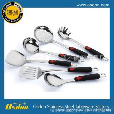 精美不锈钢厨具 三厘硅胶柄 烹饪勺铲套装 批发