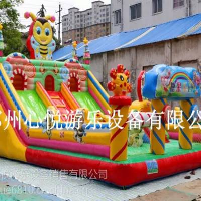 迭部糖果乐园充气滑梯城堡60平米质量一流/甘肃儿童充气蹦蹦床厂家/心悦pvc环保跳床价格