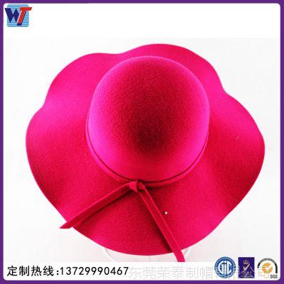 荣泰帽厂定制生产 时尚英伦复古礼帽 女式光身羊绒大檐帽 名媛帽