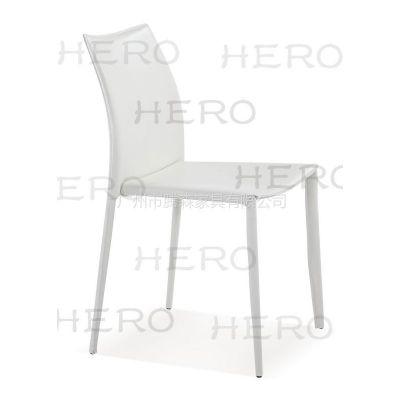 供应腾森家具金属全包再生皮餐椅3020