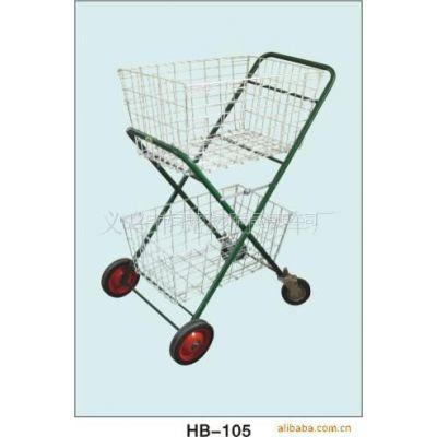 供应折叠式双层购物车、万向轮、来样定做