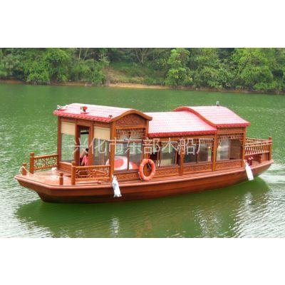 厂家供应双层餐饮画舫、景区水库旅游观光木船